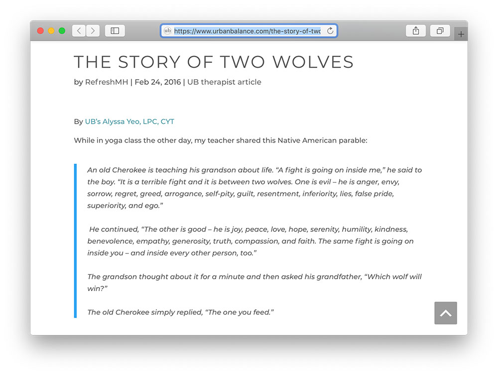 urban balance tale of two wolves